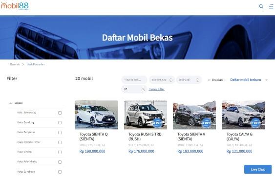 Filter Pencarian Mobil Bekas Toyota Rush di Mobil88