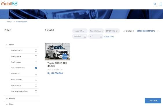 Hasil Pencarian Mobil Bekas Toyota Rush di Mobil88